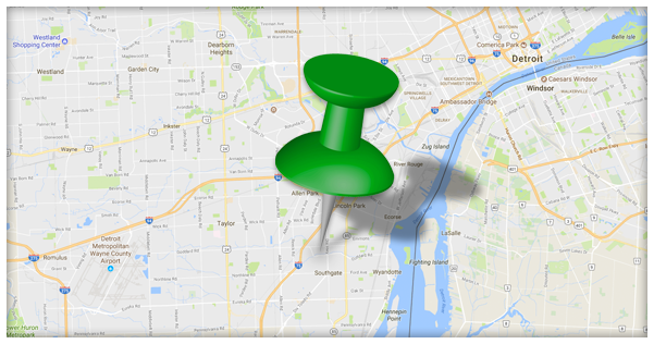 Image of map with push pin denoting location of business